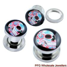 1pc New Surgical Steel Day Of The Dead Skull Ear Flesh Tunnel Plug Body Piercing