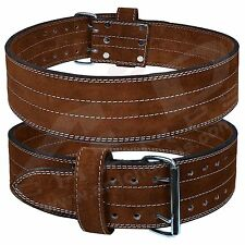 Fit Genuine Leather Power Heavy Duty Weight Lifting Body building Belt Brown