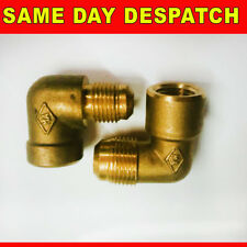 "BRASS GAS FIRE INLET ELBOW VALOR  / CANNON / ROBINSON WILLEY 1/4"" 3/8"" FEMALE"