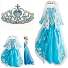 NEW Kids Girls Dresses Disney Elsa Frozen costume Princess Anna party dresses