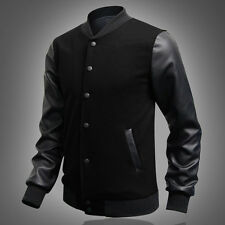 SPRING US Young Men Baseball Jacket College PU Leather Sleeve Sport Coat Outwear