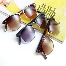 Men Women Vintage Half Frame Clubmaster Style Sunglasses Mirrored Sunglasses EC