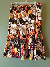 Bold Floral Print Skirt 4 or 12 Womens Brown Orange Pink Christopher & Banks NEW