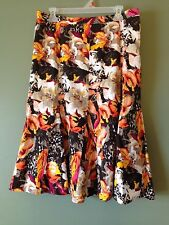 Bold Floral Print Skirt 4 8 12 Womens Brown Orange Pink Christopher & Banks NEW