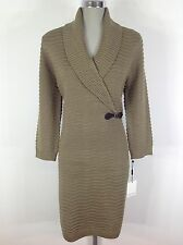 Calvin Klein NEW wT Ribbed Sweater Dress Taupe 3/4 sleeve shawl collar size S, L