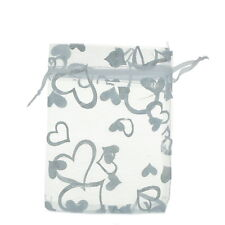Wholesale lot 9x12 New Organza White Hearts Wedding Favours/XMAS Gift Bags
