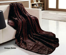 Luxurious Super Soft Chocolate Faux Fur Mink Throws,Sofa/Bed Blanket Double/King