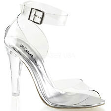 FABULICIOUS Shoes High Heel Closed Back Open Toe Ankle Strap CLEARLY-430 Clear