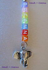 ELEPHANT HEAD ~ Personalised Clip-On Zip / Bag Charm - *Choose Colour and Name*
