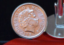 One Pence 1p coin cuff links - choose your year 1971 - 2014 and style