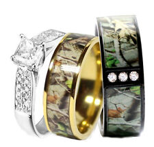His STAINLESS STEEL, Hers SILVER & TITANIUM Wedding Rings Set Camo Black 3 pcs