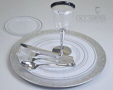 OCCASIONS Full Wedding Set - Chargers, Disposable Plastic plates, cutlery & cups