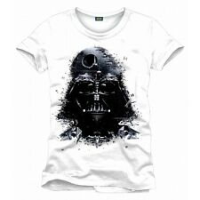 STUNNING STAR WARS DARTH VADER HEAD DEATH STAR, TIE FIGHTERS WHITE T-SHIRT