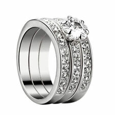Cubic Zirconia 925 Sterling Silver Engagement Wedding Band finger Ring