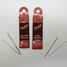 Wool Needles and Knitters Needles Essentials Brand Assorted Sizes