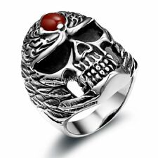 Gothic Biker Punk Wing Skull King Stainless Steel Ring Mens Boys Band Size 7-12