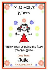 Personalised TEACHER, TEACHING ASSISTANT Notepad Notebook (Girl / Boy)-  Gift