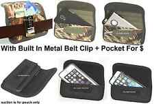 Holster Metal Belt Clip Horizontal Wallet+Pouch To Fit With Thick Rubber Case
