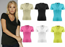 NEW LADIES T-SHIRT PLAIN SHORT SLEEVED V NECK CAUSAL TOP T-SHIRT IN UK SIZE 8-14