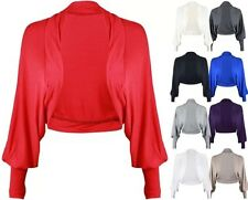 WOMENS LADIES BATWING LOOK LONG SLEEVE CROP CARDIGAN SHRUG BOLERO TOP SIZE 8- 14