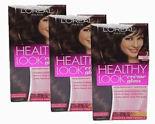 3 Pk Loreal Healthy Look Hair Color Dye Creme Gloss No Ammonia Lasts 28 Shampoos