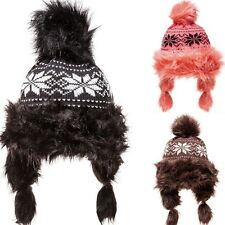 Women's Knitted Faux Fur Cap Norwegians Hat With Pompom Winter Hat
