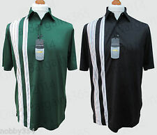 Mens Greg Norman Play Dry Golf Polo Shirt Top S/S With Stripes Moisture Wicking