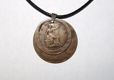 """Black British Coppers Penny, Half Penny & Farthing 17"""" 43cm Necklace"""