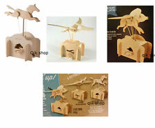 Wooden Automata Craft kit Flying Pig, Fling Pteranodon And Running Horse