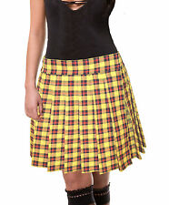 YELLOW RED and BLACK PLUS SIZE PLAID TARTAN SCHOOLGIRL PLEATED LONG SKIRT Unley
