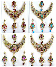 Bollywood Statement Gold Necklace Earring Set Indian Wedding Party Jewelry
