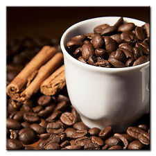 """Large Square Coffee Beans Cup Canvas Picture. 20""""x20"""". Kitchen Print."""