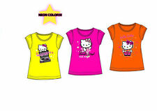 HELLO KITTY T-SHIRT NEON YELLOW PINK ORANGE 100% COTTON AGE 2-8 Y BNWT