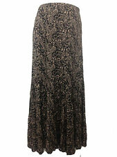 Lovely Printed Black Beige Full Length Long Maxi Skirt UK Sizes M L XL XXL. New