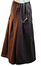 Steampunk-Victorian-Medieval-Larp-cosplay-scifi-BROWN COTTON PANEL SKIRT-Costume