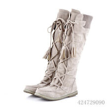 Womens Fashion Leisure Flat Heel Shoes Lace-UP Knee High Boots AU Size Y1014