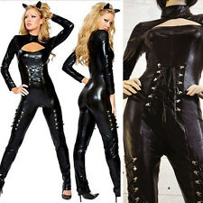 Sexy Wet Look Full Catsuit PVC Lace Up Cat Ear Costume Cosplay Stretchy S-4XL US