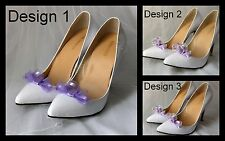 New lilac or ivory and lilac shoe clip decoration accessory.