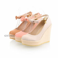 Womens  High Heels Wedge Platform Shoes Sandals Ankle Strap Bowknot Size