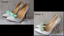 New pair of mint or mint & cream shoe clip decoration accessory.