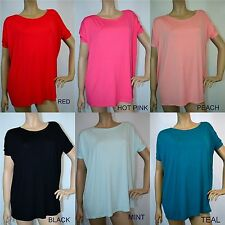 PIKO SHORT SLEEVE SLOUCHY BAMBOO TOPS MANY COLORS S-M-L T2195 DEBRA'S BOUTIQUE