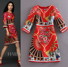 2015 Spring New Runway 3/4 Sleeve Red Printed Jacquard Bodycon Fashion Dress