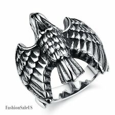 Fashion Punk  Eagle Biker Stainless Steel Ring Mens Boys Band Size 7-10 New