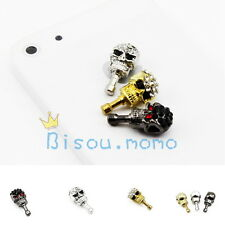 Cool Rhinestone Skull Head Earphone Plug Anti Dust Proof Ear Cap for iPhone 4 5