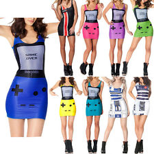 Women Tight 3D Graphic Game Over Print Stretch Bodycon Summer Vest Top Dress