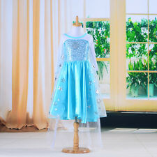 Blue Snowflake Baby Girls Kids Costume Party Gown Fancy Formal Tulle Dress 3-8Y