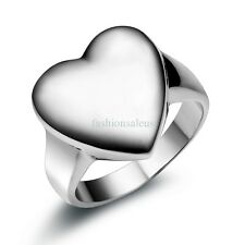 New Polished Stainless Steel Ring w/ Heart Signet Mens Womens Weddding Band