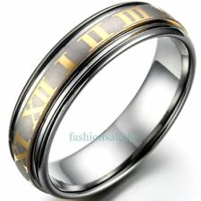 6mm Roman Numerals Pattern Tungsten Carbide Ring Unisex Wedding Engagement Bands