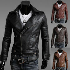 Men's Top Design Slim Fit Casual Motorcycle PU Leather Bike Jacket Outdoor Parka