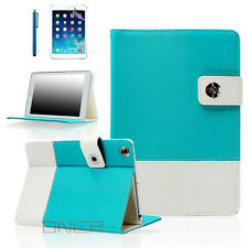 For Apple iPad 2 3 4 mini Air - Hybrid Premium Leather Smart Case Teal Blue